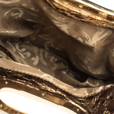 Michael Kors Metallic Gold Leather Fold Over Clutch 294230 - 6