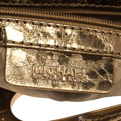 Michael Kors Metallic Gold Leather Fold Over Clutch 294230 - 7