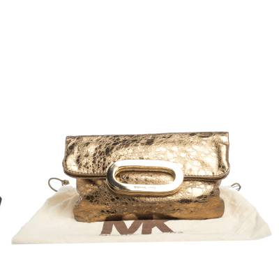Michael Kors Metallic Gold Leather Fold Over Clutch 294230 - 9