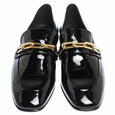 Burberry Black Patent Leather Chillcot Chain Detail Slip On Loafers Size 41 294615 - 2