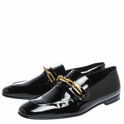 Burberry Black Patent Leather Chillcot Chain Detail Slip On Loafers Size 41 294615 - 3