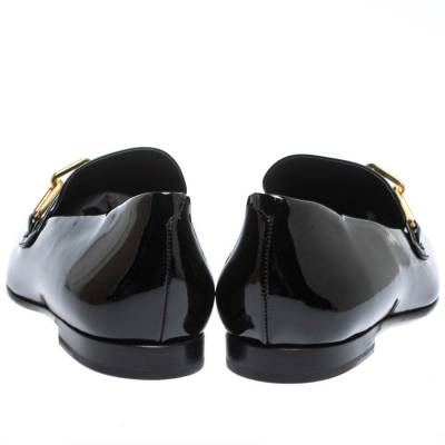Burberry Black Patent Leather Chillcot Chain Detail Slip On Loafers Size 41 294615 - 4