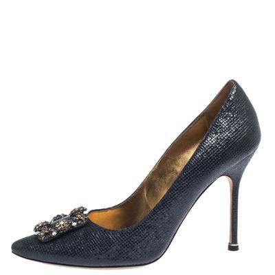 Manolo Blahnik Blue Lizard Embossed Leather Hangisi Pumps Size 39.5 294644 - 1