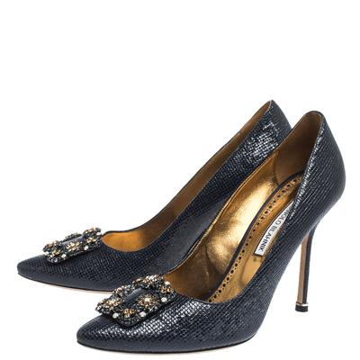 Manolo Blahnik Blue Lizard Embossed Leather Hangisi Pumps Size 39.5 294644 - 3