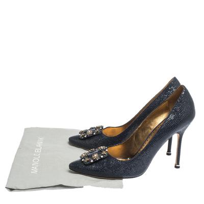 Manolo Blahnik Blue Lizard Embossed Leather Hangisi Pumps Size 39.5 294644 - 7