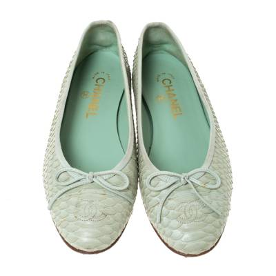 Chanel Light Green Python Bow Ballet Flats Size 38 292271 - 1
