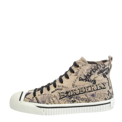 Burberry Beige Canvas Kingly Print High Top Sneakers Size 39 294413 - 1