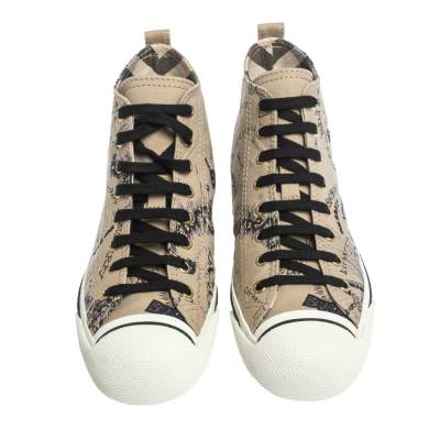 Burberry Beige Canvas Kingly Print High Top Sneakers Size 39 294413 - 2