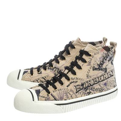Burberry Beige Canvas Kingly Print High Top Sneakers Size 39 294413 - 3