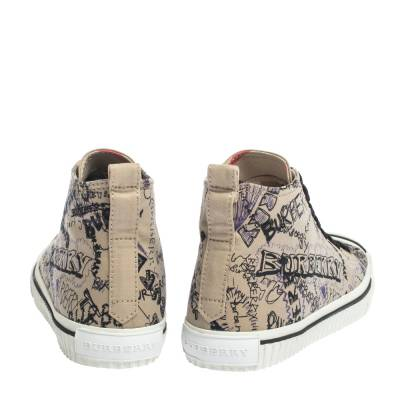 Burberry Beige Canvas Kingly Print High Top Sneakers Size 39 294413 - 4
