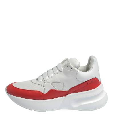 Alexander McQueen White/Red Leather And Mesh Oversized Runner Low Top Sneakers Size 40 294599 - 1