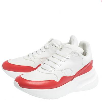 Alexander McQueen White/Red Leather And Mesh Oversized Runner Low Top Sneakers Size 40 294599 - 3
