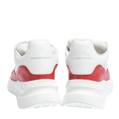 Alexander McQueen White/Red Leather And Mesh Oversized Runner Low Top Sneakers Size 40 294599 - 4