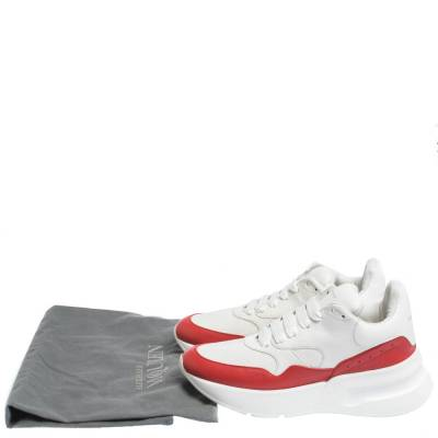 Alexander McQueen White/Red Leather And Mesh Oversized Runner Low Top Sneakers Size 40 294599 - 7