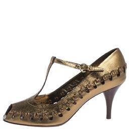 Louis Vuitton Bronze Leather T-Bar Cut Out Peep Toe Pumps Size 38 294597
