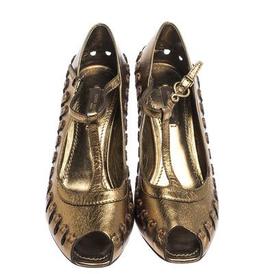Louis Vuitton Bronze Leather T-Bar Cut Out Peep Toe Pumps Size 38 294597 - 2