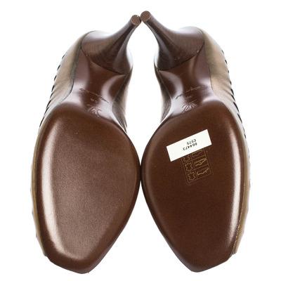 Louis Vuitton Bronze Leather T-Bar Cut Out Peep Toe Pumps Size 38 294597 - 5