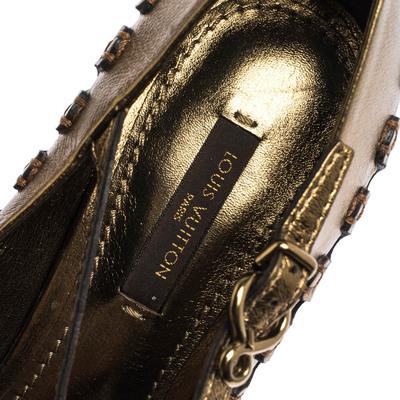 Louis Vuitton Bronze Leather T-Bar Cut Out Peep Toe Pumps Size 38 294597 - 6