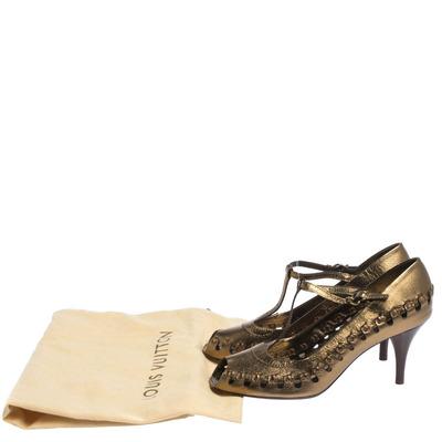 Louis Vuitton Bronze Leather T-Bar Cut Out Peep Toe Pumps Size 38 294597 - 7
