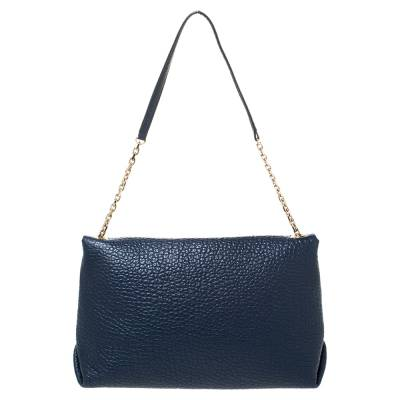 Burberry Blue Grained Leather Mildenhall Shoulder Bag 294223 - 3