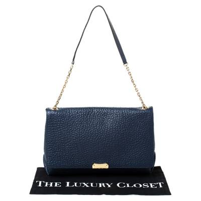 Burberry Blue Grained Leather Mildenhall Shoulder Bag 294223 - 9