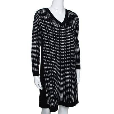 M Missoni Monochrome Textured Knit Shift Dress S 292514 - 1