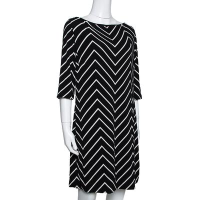 Ralph Lauren Monochrome Zig Zag Print Stretch Jersey Shift Dress L 292511 - 1