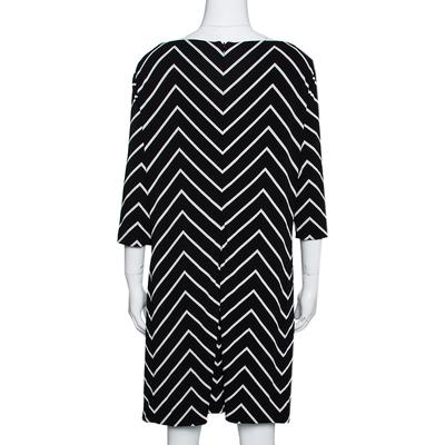 Ralph Lauren Monochrome Zig Zag Print Stretch Jersey Shift Dress L 292511 - 2