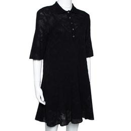 M Missoni Black Textured Wool Blend Knit A Line Dress S 292513
