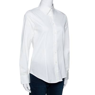Burberry White Stretch Cotton Button Front Long Sleeve Shirt S 292512 - 1