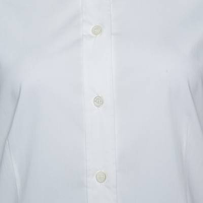 Burberry White Stretch Cotton Button Front Long Sleeve Shirt S 292512 - 3