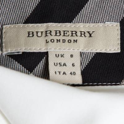 Burberry White Stretch Cotton Button Front Long Sleeve Shirt S 292512 - 4