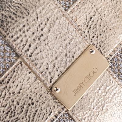 Jimmy Choo Gold Metallic Leather and Glitter Reese Clutch 294210 - 4