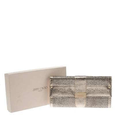 Jimmy Choo Gold Metallic Leather and Glitter Reese Clutch 294210 - 8