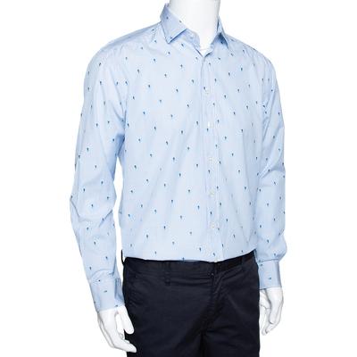Etro Light Blue Striped Seahorse Pattern Cotton Long Sleeve Shirt L 294213 - 1