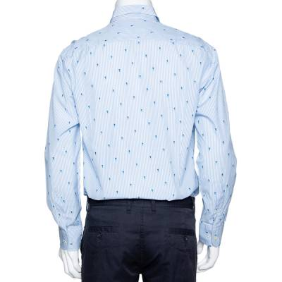 Etro Light Blue Striped Seahorse Pattern Cotton Long Sleeve Shirt L 294213 - 2