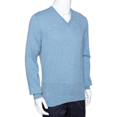 Ermenegildo Zegna Light Blue Cashmere V-Neck Sweater M 294215 - 1