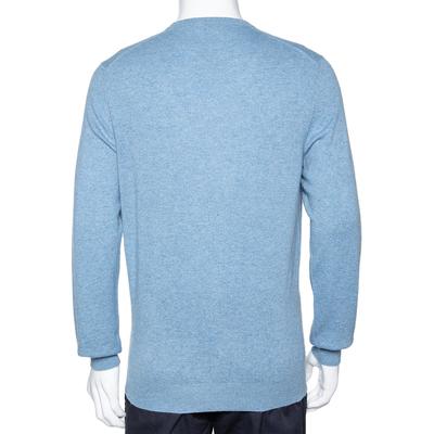 Ermenegildo Zegna Light Blue Cashmere V-Neck Sweater M 294215 - 2