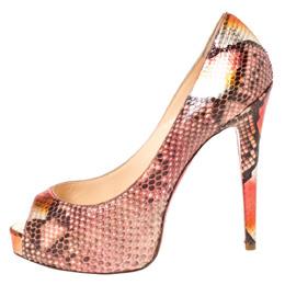 Christian Louboutin Multicolor Python Hyper Prive Peep Toe Platform Pumps Size 40 294692