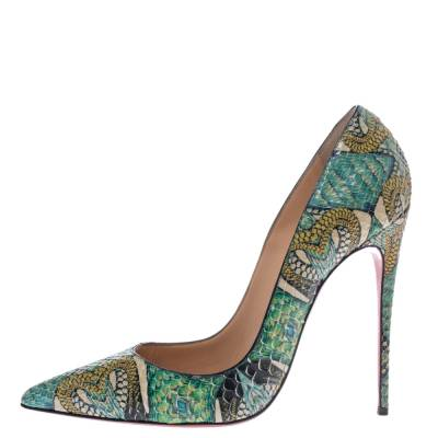 Christian Louboutin Multicolor Inferno Python Leather So Kate Pointed Toe Pumps Size 39 294675 - 1