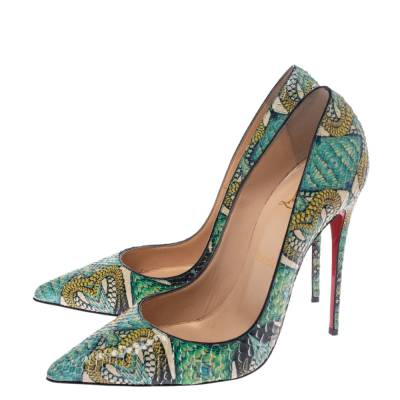 Christian Louboutin Multicolor Inferno Python Leather So Kate Pointed Toe Pumps Size 39 294675 - 3