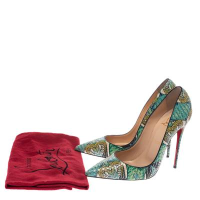 Christian Louboutin Multicolor Inferno Python Leather So Kate Pointed Toe Pumps Size 39 294675 - 7