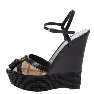 Burberry Brown Leather And Novacheck Canvas Espadrille Platform Wedge Sandals Size 38 294841 - 1