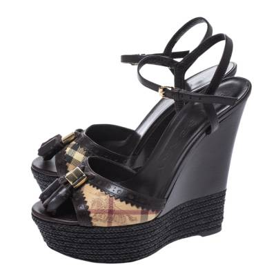 Burberry Brown Leather And Novacheck Canvas Espadrille Platform Wedge Sandals Size 38 294841 - 3