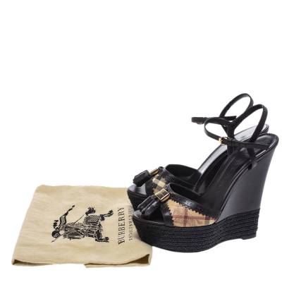 Burberry Brown Leather And Novacheck Canvas Espadrille Platform Wedge Sandals Size 38 294841 - 7