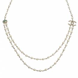 Chanel CC Faux Pearl Bead Gold Tone Long Necklace 292215