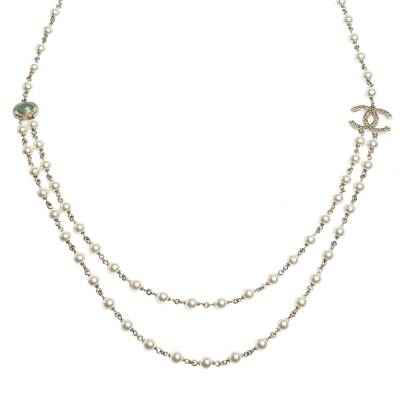 Chanel CC Faux Pearl Bead Gold Tone Long Necklace 292215 - 1