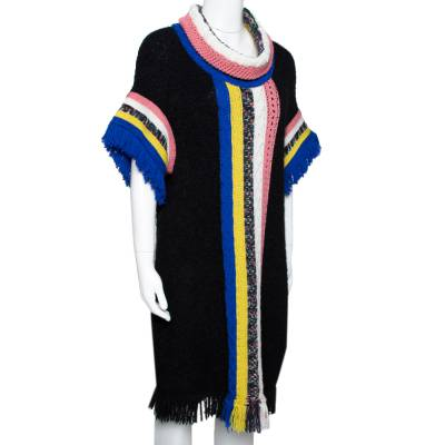 Missoni Black Paneled Wool Blend Fringed Turtle Neck Dress S 292506 - 1