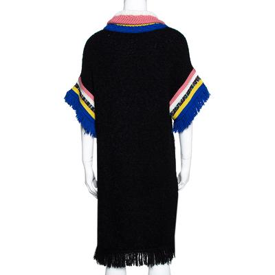 Missoni Black Paneled Wool Blend Fringed Turtle Neck Dress S 292506 - 2