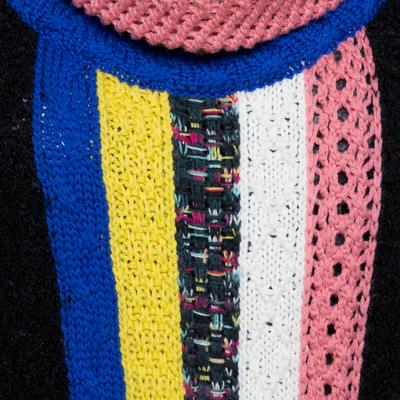Missoni Black Paneled Wool Blend Fringed Turtle Neck Dress S 292506 - 3